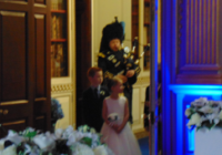Bagpiper playing at a Wedding Reception